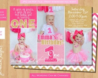 1st birthday girl invitation pink gold  1st birthday invitation girl pink gold printable photo girl 1st birthday invitation first birthday