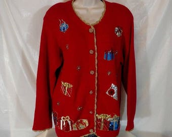 VICTORIA HARBOUR Christmas Cardigan Sweater Vintage Women Size S Long Sleeve Red Gold