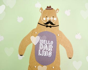 Articulated paper doll Hello Darling Bear Christmas gift Xmas present paper puppet funny girlfriend gift gentleman hipster toy birthday