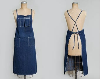 Vintage Indigo Selvedge Denim Shop Apron Work Wear Garment