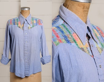 70s Embroidered Chambray Faded Denim Button Down Patchwork Western Hippie Shirt
