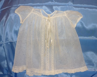 ANTIQUE.Net Lace Baby  Dress ...Very Good Condition...Bears...Dolls French Lace