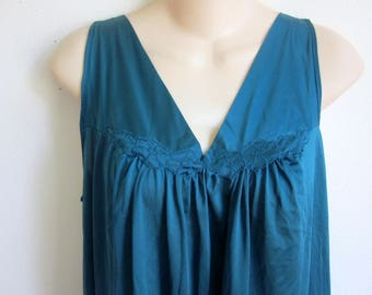 Vintage nylon nightgown deep teal Vanity fair waltz length original tags on S small