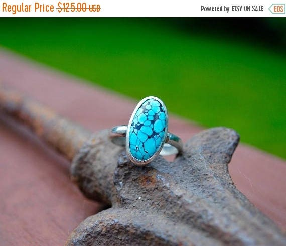 ON SALE Turquoise Ring-Gift for Her-Christmas Gift-Real Royston Turquoise Ring-Sterling Silver and Genuine Turquoise Ring-Size 7.5-Turquoise