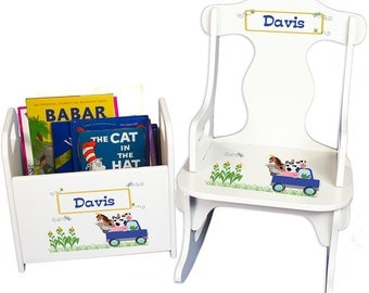 Personalized Puzzle Rocker and Book Caddy set with Blue Farm Truck Design-rknrd-244