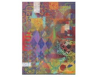 Mandala art, zen art, original 9x12 painting, REMAINS of the DAY, meditation artwork, grafitti art, impasto,  by Elizabeth Rosen