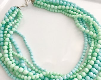 Two Tone Statement Necklace, Mint green statement necklace, light blue statement necklace