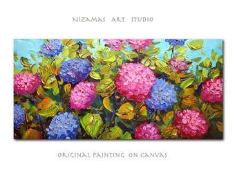 Hydrangea oil painting vibrant Palette Knife texture flowers from Paula Nizamas interior decor