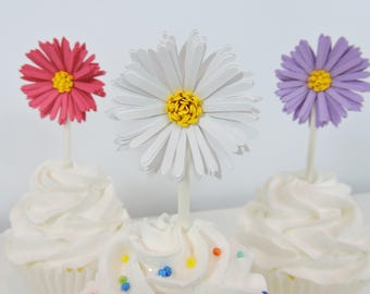 Aster Daisy Cupcake Toppers Set of 12 for Garden Theme Party, Birthday Party, Wedding Decor, Engagement Decor, Baby Shower