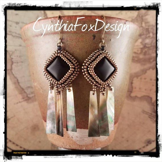 Long Matte Black Onyx and Abalone Shell Earrings