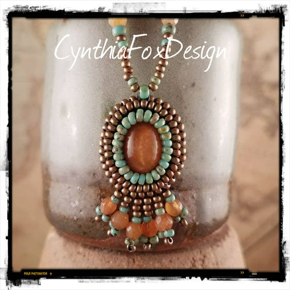Golden Sunstone and Peach Carnelian Fringe Beaded Boho Necklace