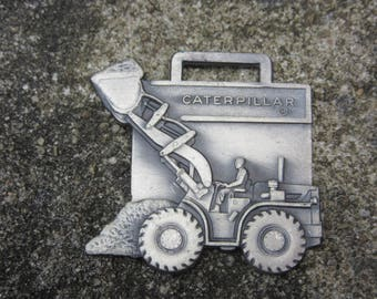 Vintage Metal Watch Fob CAT Beckwith Machinery Heavy Equipment Construction Caterpillar Loader Key Fob Vintage Keychain Ring Key Charm