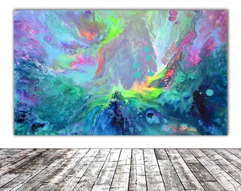 """ORIGINAL ABSTRACT ART - 20x12"""" - Fusion 16, Unique Original Fluid Abstract Painting Fine Art One of a Kind, Gift Wall Decor"""