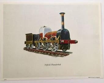 Vintage 1960s Train Engine Locomotive Titfield Thunderbolt Lithograph Unframed 8 x 6