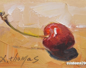 Original oil painting / cherry oil painting / fruit / still life painting / 12CMX18CM by X.thmoas