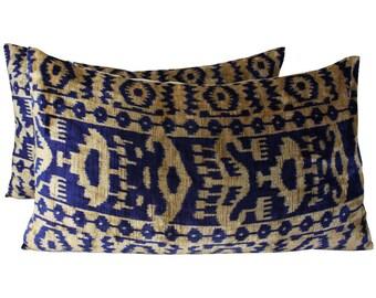 Set of 2 Silk Velvet Ikat Pillow Covers Lp412s, Bohemian pillow, Velvet Ikat Pillow, Velvet Pillow, Velvet Pillow Cover, Ikat Pillows