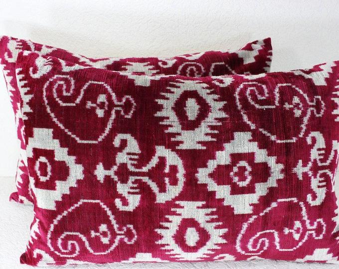 Set of 2 Silk Velvet Ikat Pillow Covers Lp410s, Bohemian pillow, Velvet Ikat Pillow, Velvet Pillow, Velvet Pillow Cover, Ikat Pillows
