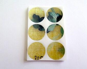 Envelop seals, sticker set, craft stickers, set of 30, yellow blue