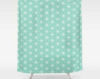 36 colours, 6 Point Star Pattern Shower Curtain, Lucite Green, Polygon, Nordic decor, geometric shower curtains, stars bathroom decor