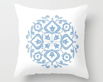 36 colours, Powder Blue, Persian Glaze Pillow, Folk Motif, Flower Pattern, Floral Motif, Faux Down Insert, Indoor or Outdoor options
