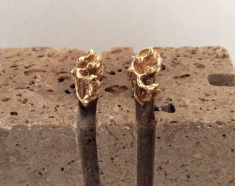 Nugget Earrings - Gold Studs - gold earrings - Yellow gold -  simple design - classic - 70s - gift for her - Anniversary Gift