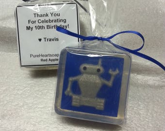 Robot Party Favors, 6 Large, Custom Colors, Choice of Scent, Glycerin Soap,