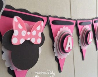 Minnie Mouse Birthday Banner, Minnie Mouse 1st Birthday Banner, Pink and Black Minnie Mouse Birthday, Minnie Mouse Baby Shower, Party Banner