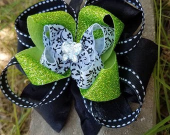Butterfly green and black hairbow
