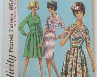 Shirtwaist Dress With Notched Collar Bodice Front Closing Side Zipper Pleated Or Slim Skirt Size 12 Sewing Pattern 1965 Simplicity 5877
