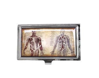 Anatomy Card Case - Anatomy ID Case - Antique French Anatomical Circulatory System Print Wallet