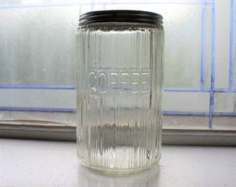 Antique Hoosier Jar Ribbed Paneled Coffee Canister