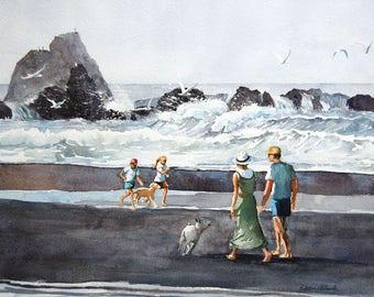 Watercolor ORIGINAL - Day at the Beach - vacation, beach, children, dog, summer, ocean, sea
