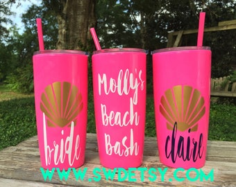 Bachelorette Party Cups / Yeti like Personalized Cup with lid and Straw / Beach Bachelorette / Bridesmaid Favor / Girls Weekend / Beach Cups
