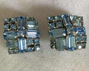 Earrings, Vintage Earrings, Rhinestone Earrings, Costume Jewelry, Vintage Blue Rhinestone Clip On Earrings 1950s