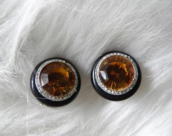 Golden Topaz Rhinestone Clip Earrings, Signed KENNETH LANE