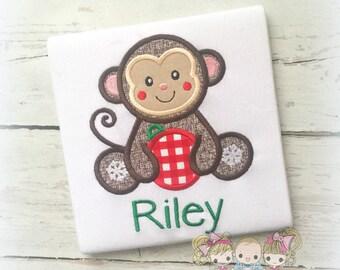Christmas Monkey shirt - cute monkey holiday shirt with ornament - monkey Christmas shirt - personalized Christmas shirt with monkey