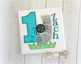 Itsy Bitsy Spider birthday shirt - spider themed  1st birthday shirt- spider water spout- Itsy Bitsy birthday spider shirt for boys
