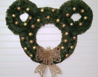 Disney Inspired Wreath, Mickey Ears, Christmas Wreath, Gold Wreath, Disney Christmas