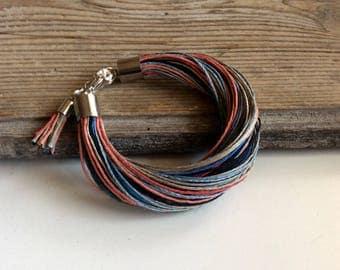 Linen bracelet with tassel / colorful hemp bracelet / fiber bracelet / boho jewelry / gift for woman / rustic jewelry set
