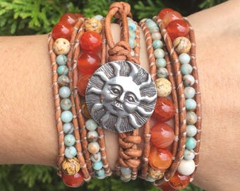 Turquoise and Carnelian Beaded Leather Wrap Bracelet with silver sun clasp