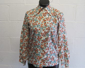 Vintage Retro Floral Long Sleeve Button Up Top
