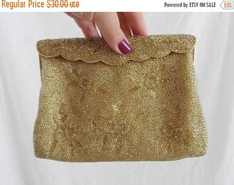 WEEKEND SALE Vintage Gold Beaded Clutch Purse