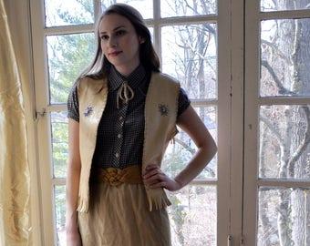 Blue Calico Shirt Dress/Vintage 1970s/Western Wear CowGirl Hippie/Size XS