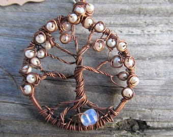 Tree of Life Pendant Necklace with Pearl and Sea Opal