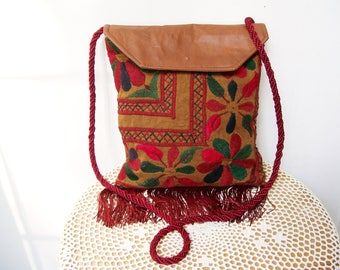 Embroidered Cotton BOHO SHOULDER PURSE Vegan Leather Fringe Recycled Materials Brown Wine Green Red Cross Body Bag Hip Pouch