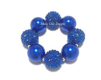 Toddler or Girls Royal Blue Chunky Bracelet - Bling and Pearl Chunky bracelet - Blue on Blue chunky bracelet - Flower girl chunky bracelet