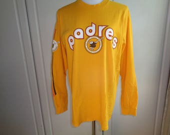 PLAY BALL! - A Retro San Diego Padres Long Sleeve Baseball Jersey of  the 1969 Team's Logo Insignia, Size Male Medium in Very good Condition