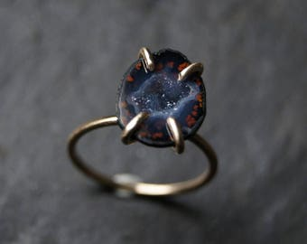 Geode Druzy Prong Set Solitaire Ring in Solid 14K Yellow Gold - CUSTOM MADE