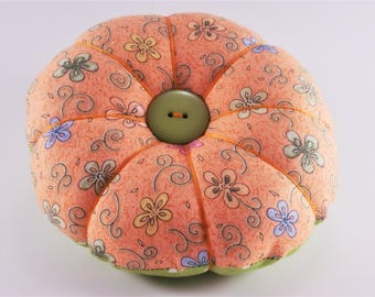 Classic Round Flower Pincushion, Orange and Green traditional Pincushion, Modern Flower PIncushion with decorative pins
