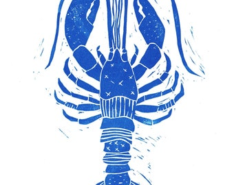SALE - 8x10 - Blue - Lobster with Patterns Illustration - Nautical - Wall Art -  Linocut Block Print - Original Print